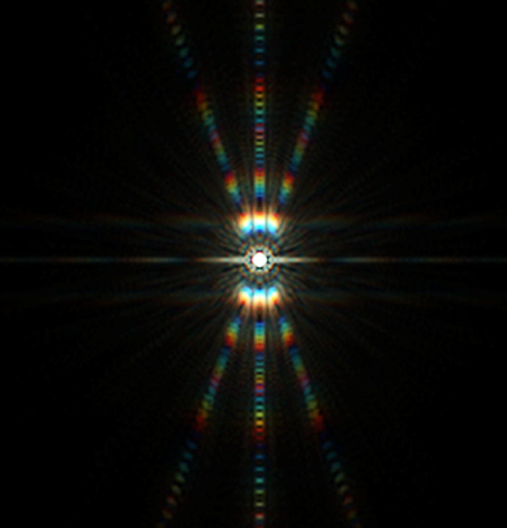 Csillag diffrakciós képe Bahtinov maszkkal, tökéletes fókuszban