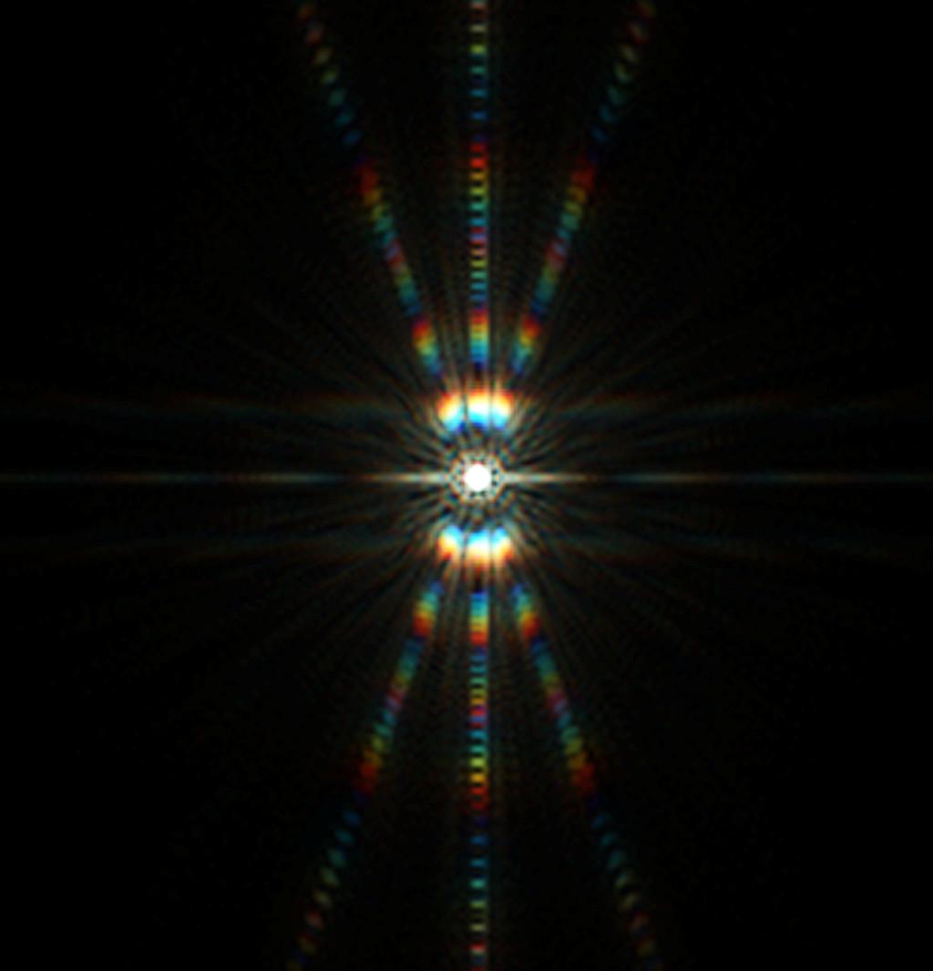 Csillag diffrakciós képe Bahtinov maszkkal, 12 mikron eltérés a fókuszsíktól