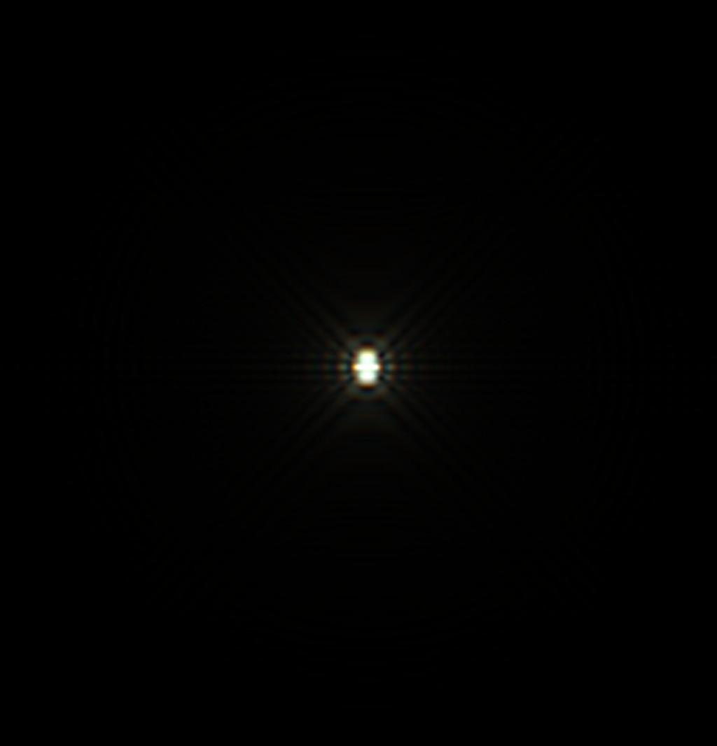 Csillag diffrakciós képe két kerek lyukú Hartmann maszkkal, 36 mikron eltérés a fókuszsíktól