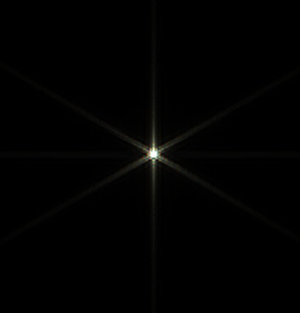 Csillag diffrakciós képe három egyenlő oldalú háromszögből álló Hartmann maszkkal, 12 mikron eltérés a fókuszsíktól