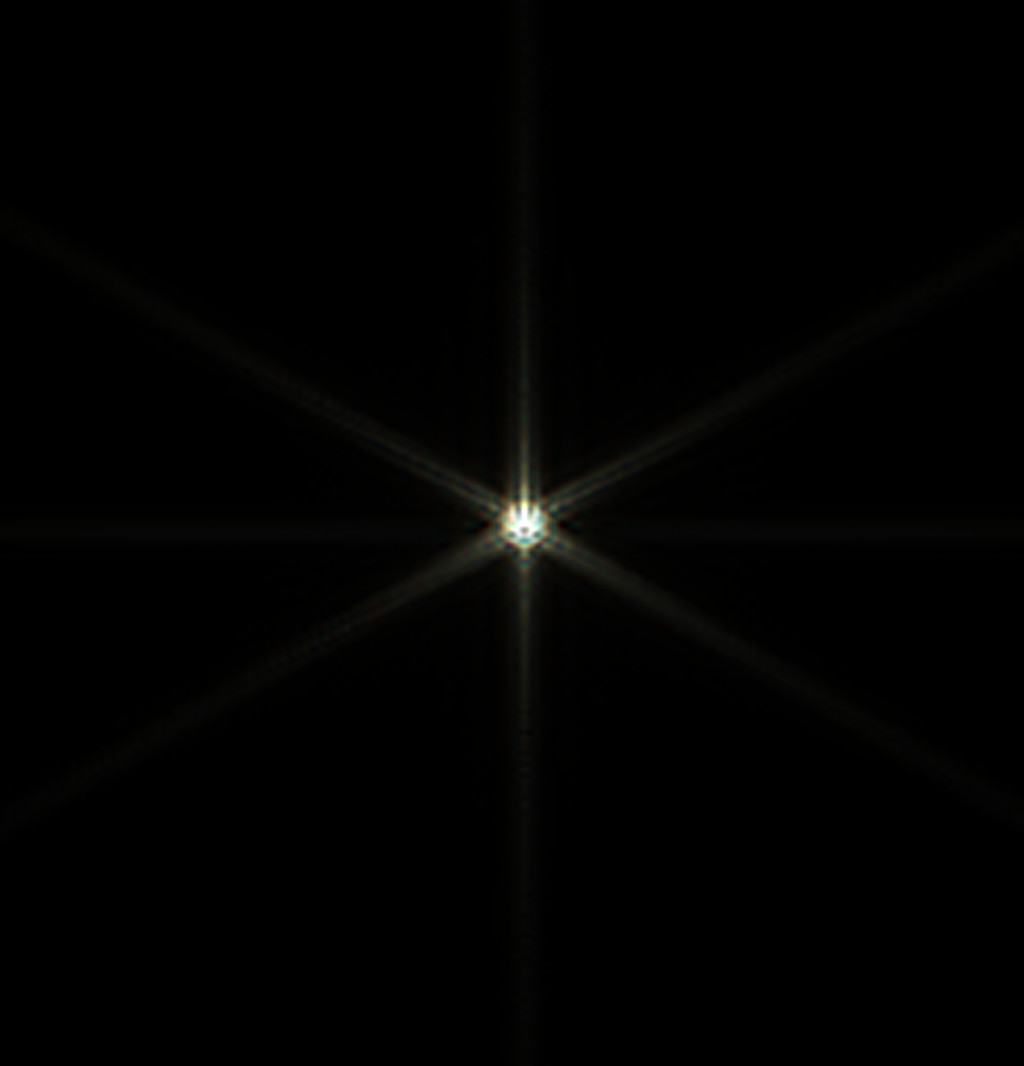 Csillag diffrakciós képe három egyenlő oldalú háromszögből álló Hartmann maszkkal, 36 mikron eltérés a fókuszsíktól