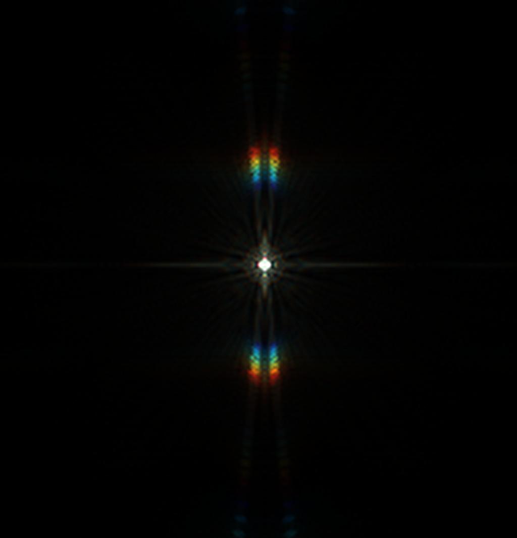 Csillag diffrakciós képe Carey maszkkal - tökéletes fókuszban