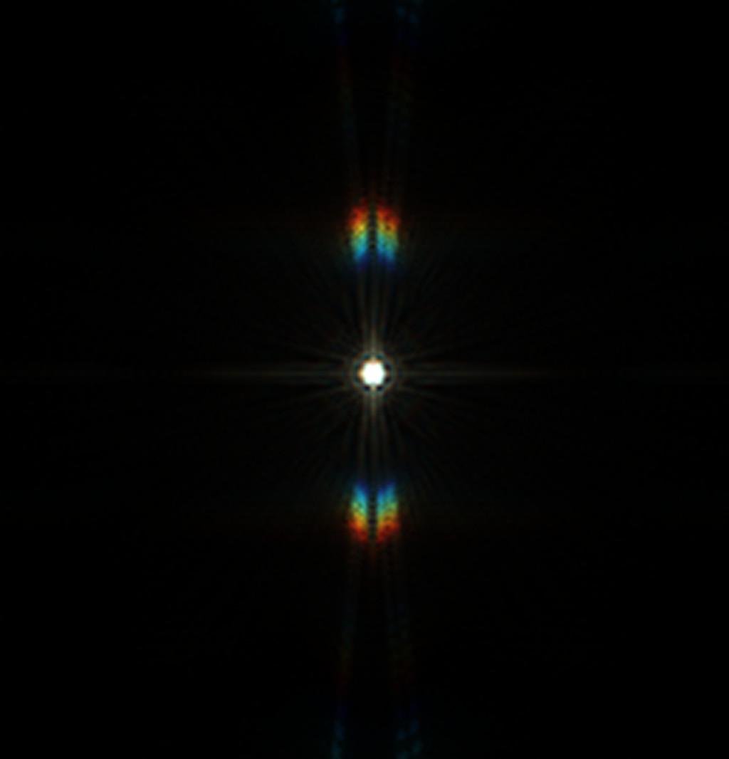 Csillag diffrakciós képe Carey maszkkal, 36 mikron eltérés a fókuszsíktól