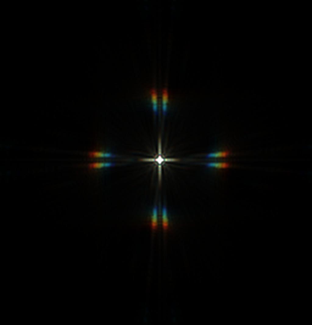 Csillag diffrakciós képe merőleges elrendezésű maszkkal, tökéletes fókuszban