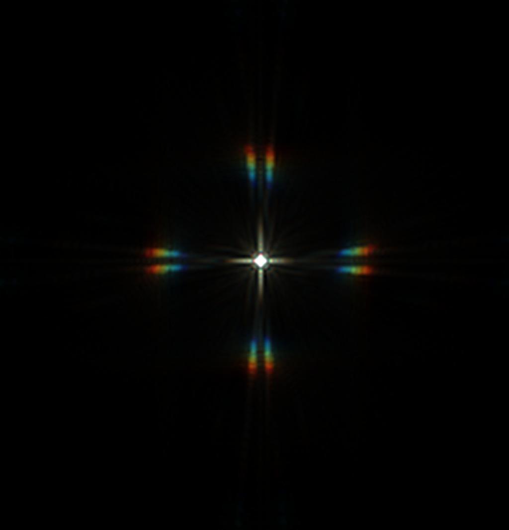 Csillag diffrakciós képe merőleges elrendezésű maszkkal, 12 mikron eltérés a fókuszsíktól