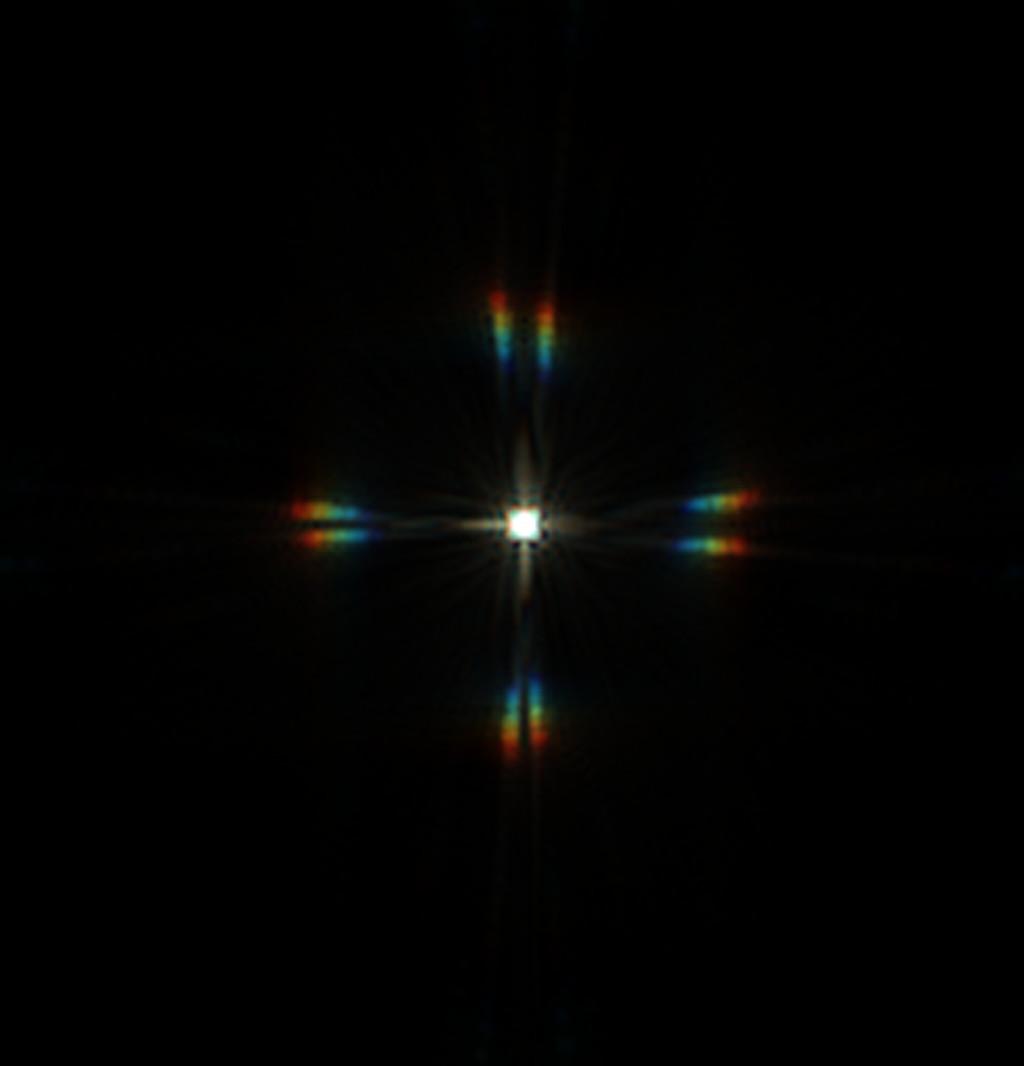 Csillag diffrakciós képe merőleges elrendezésű maszkkal, 36 mikron eltérés a fókuszsíktól