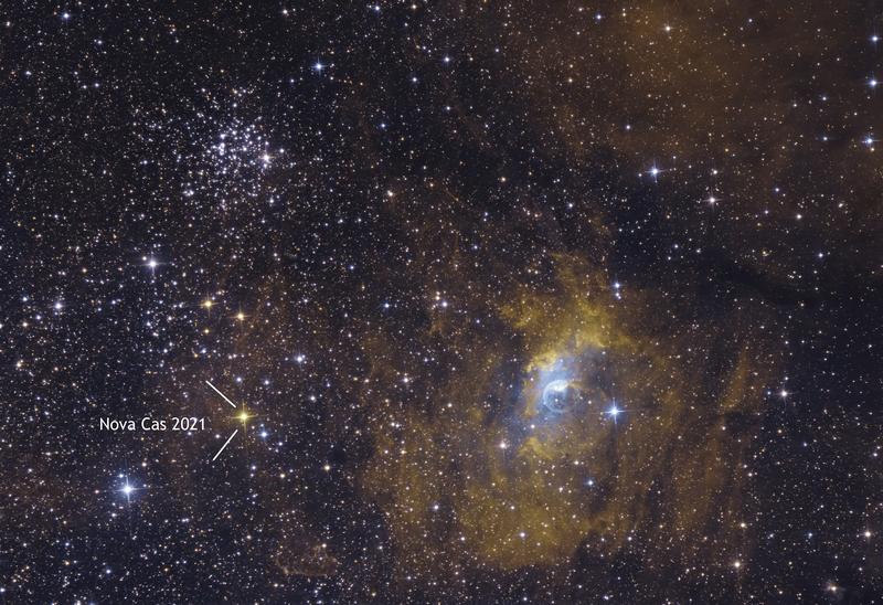 NGC 7635 Buborék-köd, M52 és Nova Cas 2021