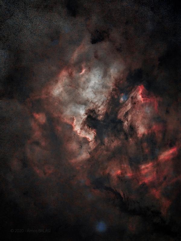 Cygnus részlet -NGC7000 - IC5067 - IC5070 - csillagok nélkül
